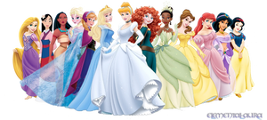 Disney Princesses with Anna and Elsa by Elemental-Aura