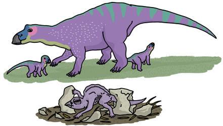 Maiasaura And her babies by watapraski