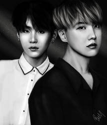 Jhope and Suga Portrait Study by LittleBlueCreek