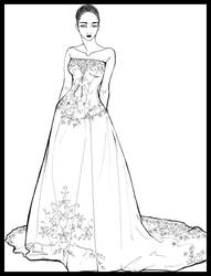 Lineart of a Wedding Gown by dichromaticbeagle