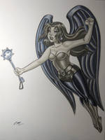 Hawkgirl Marker Drawing by em-scribbles