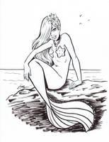 Ink Mermaid by em-scribbles