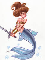 Battle Mermaid by em-scribbles