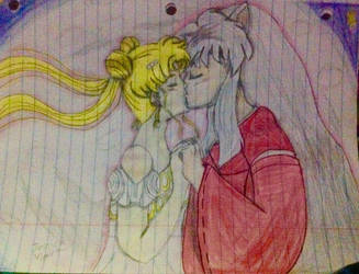 Inuyasha and Serenity's first kiss by Jessievieira90