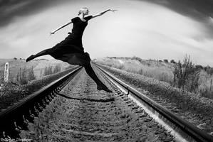 Walking through the railway by Novic