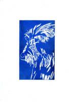 Blue Wolfhound Print by jamysketches