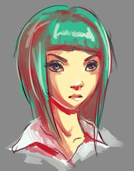Random Girl Sketch by GlassPanda