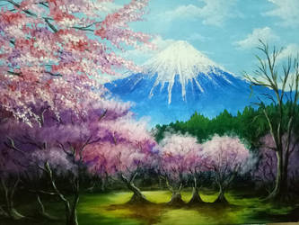 Sakura trees Scenery  by XShion74