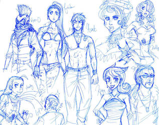 Bust-A-Groove Sketches by hanshee