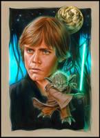 Luke and Yoda on Dagobah by jasonpal
