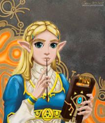 Zelda with Sheikah Slate by cyen