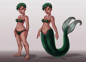 Green Mermaid's Forms by JesseCoyArt