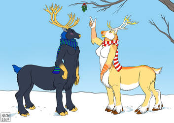 [Commission] Reindeer Taurs by neon-possum