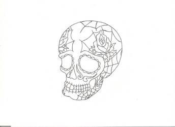 Sugar skull tattoo design by GreatWhitewolfspirit