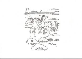 mustangs are running by GreatWhitewolfspirit
