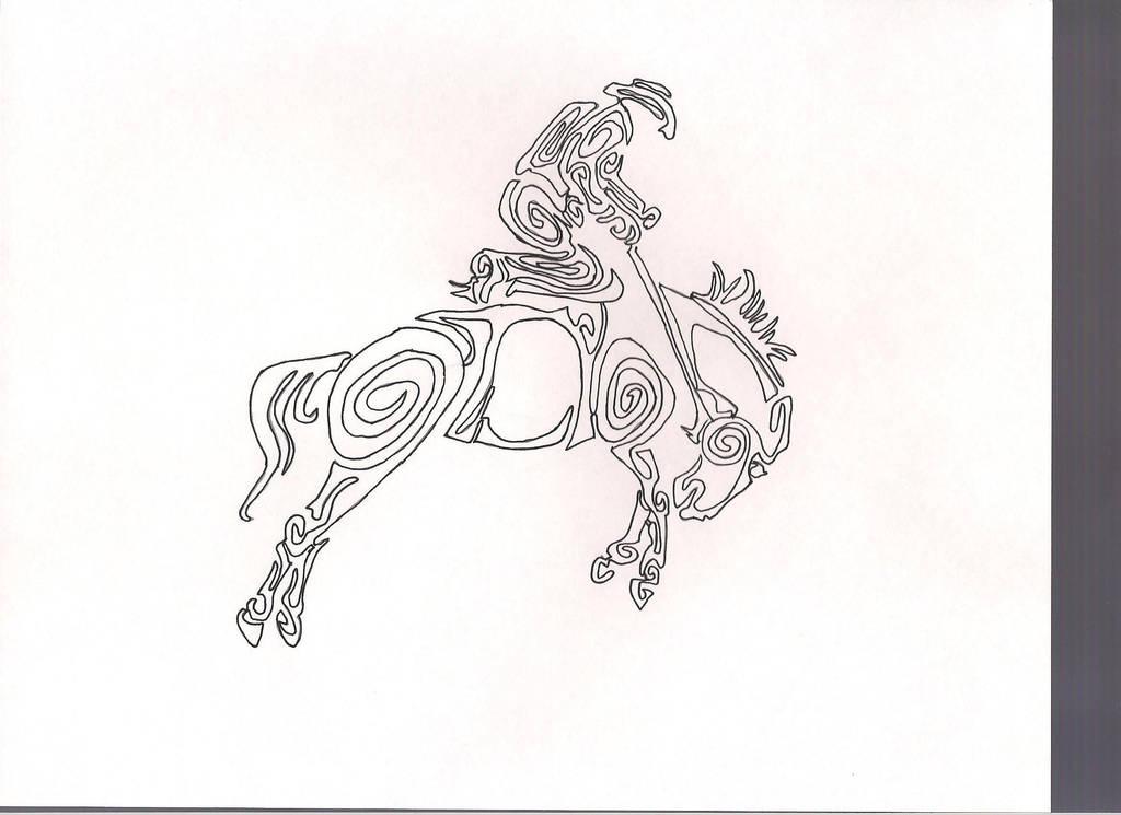 saddle bronc tribal tattoo design by GreatWhitewolfspirit