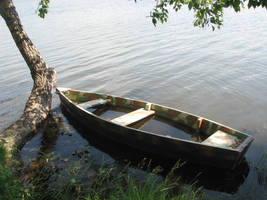 Stock: Boat on the river by Think-Outside-Of-Box