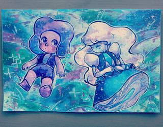 Ruby and Sapphire watercolour painting by StarsInMyCoffeee