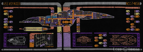 Star Trek Voyager LCARS Blueprint Cross Stitch by LordLibidan