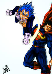 Vegeta vs. Superman by AzevedoP8