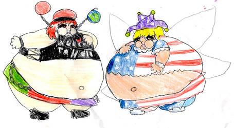 Fat Hecatia and Clownpiece by amethystdreamernat