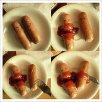 Poor poor sausage. by LuckyLadybird