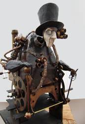 steampunk cyborg technomancer by impsandthings