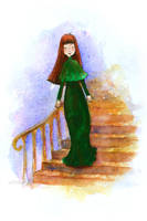 Girl Walking Down A Staircase by matildarose