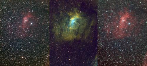 NGC 7635 - Bubble Nebula (Triptych) by cgoodrich