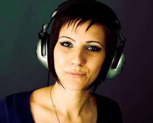 Girl with headphones by zabiamedve