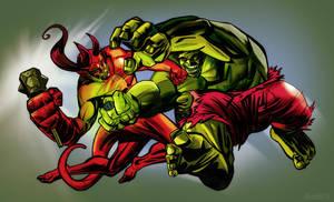 Hellboy vs. Hulk by TonyDennison