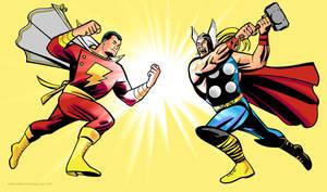 Captain Marvel versus Thor by TonyDennison