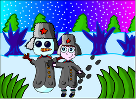 Winter Snowman by MidnightInMoscow