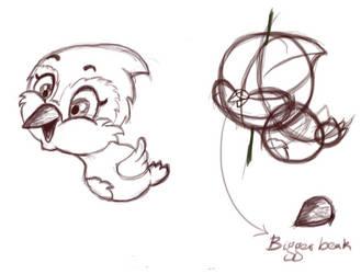 Cartoony bird Update#1 - Blooey by greenmouli