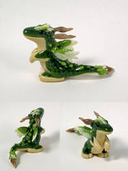 Green Mottled Feathered Dragon Figurine by RedBeanBun