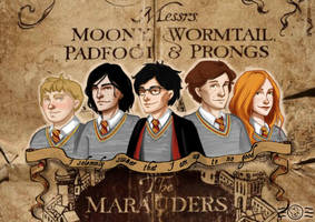 The Marauders (and Lily) by aidinera