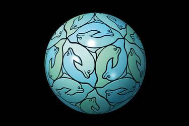 Blue Planet by M-C-Escher-Style