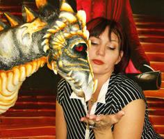 Shannon feeding the dragon by mistyscreations