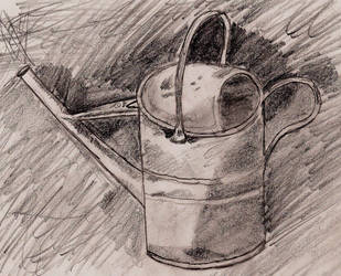 Metal Watering Can by Grymmoire