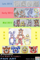 My Evolution of FNAF Fan Art by SammfeatBlueheart