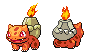 Magmasaur Front and Back Sprites by NaoTheSillyDuffer