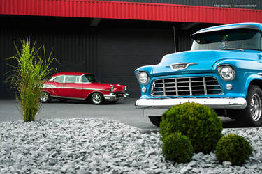 57 Bel Air + 55 Chevy 3100 - Shot 13 by AmericanMuscle