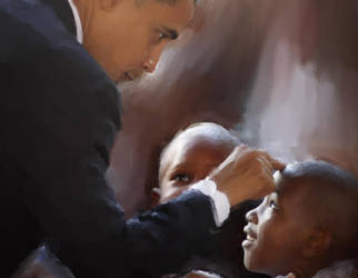 President Obama with admirers by ressamac