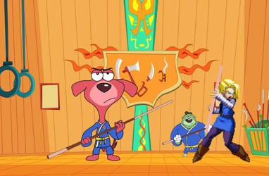 Doggy Don, Colonel, and Android 18 doing Karate by Trowbridge27