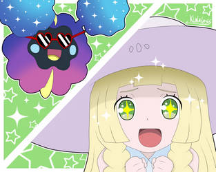 Pokemon sun and moon - Lillie and Cosmog by Kunaless
