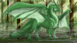 Forest fire dragon by Ikleyvey