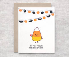 Candy Corn Greeting Card by happydappybits