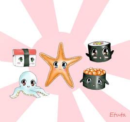 Sushi with eyes 2 by Etuta