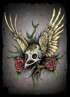 Skull Bird by beanarts