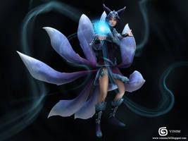 League of Legends Ahri Fan  Art by V3N0MX92